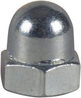 HEXAGON DOMED CAP NUT, DIN 1587, BRIGHT ZINC PLATED