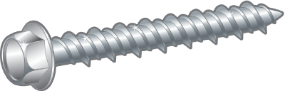 CONCRETE SCREW, HEX HEAD WITH FLANGE, BZP