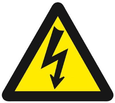 Varoitusmerkki Sähköjännite, kolmikulmainen