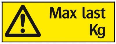 Varningsskylt Max last...kg