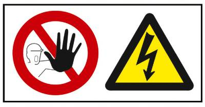 Kieltomerkki/Varoitusmerkki Pääsy kielletty Hengenvaarallinen jännite