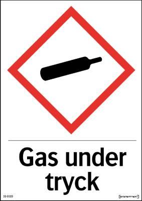 Skylt Kemiska ämnen Gas under tryck