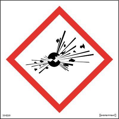 Skylt 33-0210, 33-0211 Kemiska ämnen Explosiva ämnen