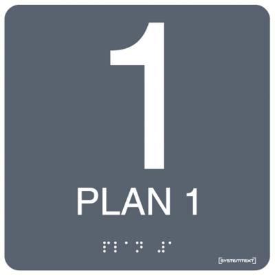Taktil skylt Plan 1-5 Grå