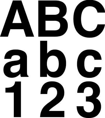 Självhäftande bokstäver och siffror 12 cm svart