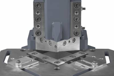 Stand and blade for corner cutting machines