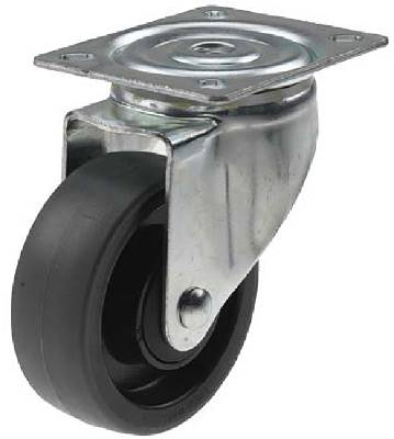 Containerhjul svängbart med platta PUR STRUKTUR