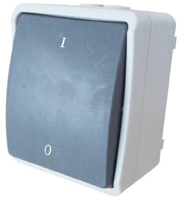 Strömbrytare utanpåliggande IP44 Grunda