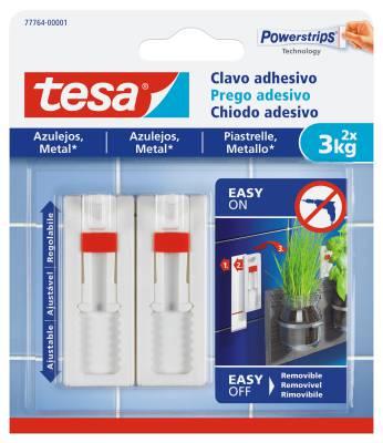 Justerbar självhäftande spik för kakel och metall Tesa