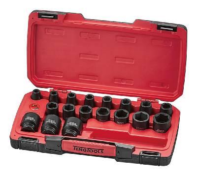 22-osainen voimahylsysarja, nelikulmainen 1/2'-kiinnitys Teng Tools T9222