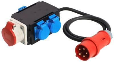 Grenuttag 3-vägs CEE 416 med kabel Grunda