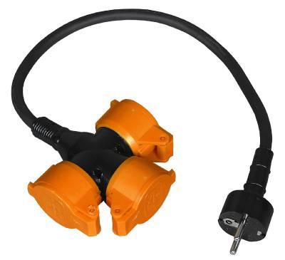 Grenuttag 3-vägs med kabel Grunda