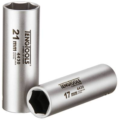 Long stainless socket. With 1/2' square drive Teng Tools MS1206176-C / MS1206216-C