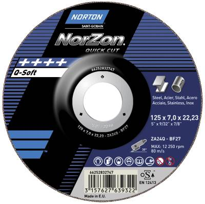Depressed centre wheel for angle grinders Norton Norzon Quick Cut