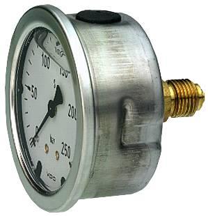 Pressure gauge, industrial Stainless steel casing. Liquid filled OEM