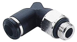 Swivel push-in couplings in 90° angle design with male connection thread