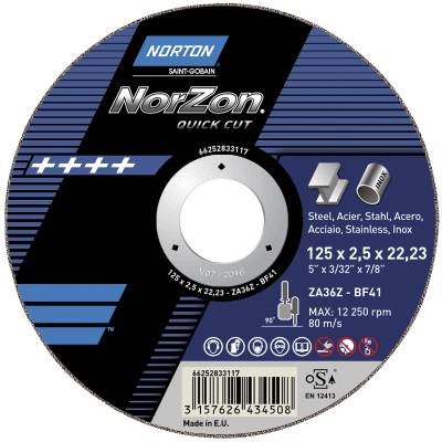 Cut-off wheel for angle grinders Norton Norzon Quick Cut