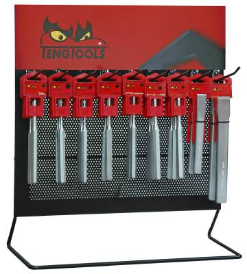 Store display with flat chisels, pin punches and centre punch. Teng Tools DISPC45