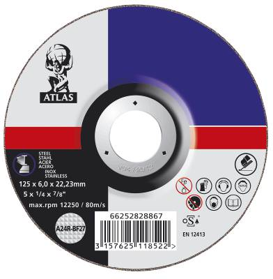 Depressed centre wheel for angle grinders Atlas