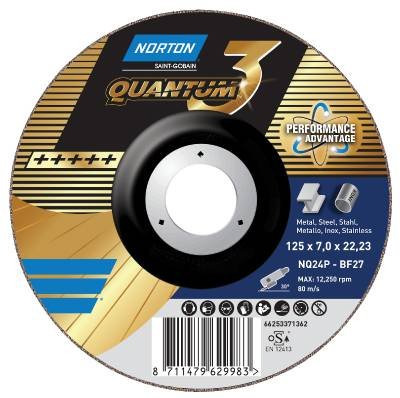 Depressed centre wheel for angle grinders Norton Quantum 3