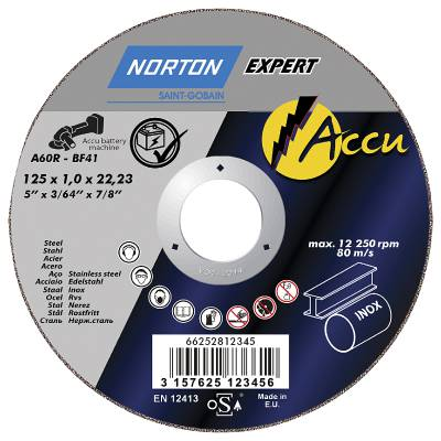 Cut-off wheel for angle grinders Norton Accu